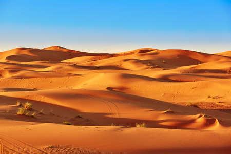 Zandduinen in de Sahara woestijn, Merzouga, Marokko Stockfoto