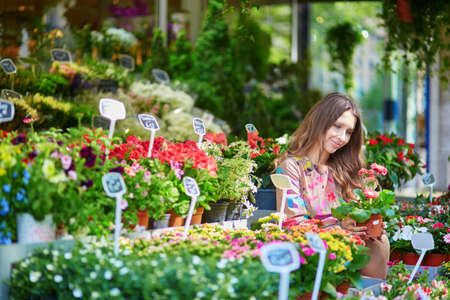 selecting: Beautiful young customer selecting fresh flowers in Parisian flower shop or on market