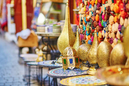 a traditional: Selection of traditional lamps on Moroccan market (souk) in Fes, Morocco Stock Photo