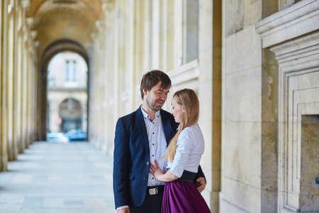 palais: Romantic couple in Paris, having a date in Palais Royal Stock Photo