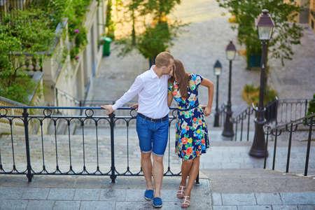 hot guy: Romantic couple kissing on Montmartre, Paris