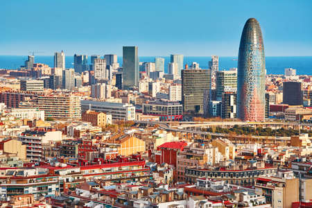 barcelona spain: Scenic aerial view of the Agbar Tower in Barcelona in Spain Stock Photo