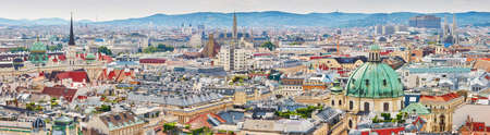 Aerial scenic panoramic view of city center of Vienna seen from St. Stephens Cathedral in Austria