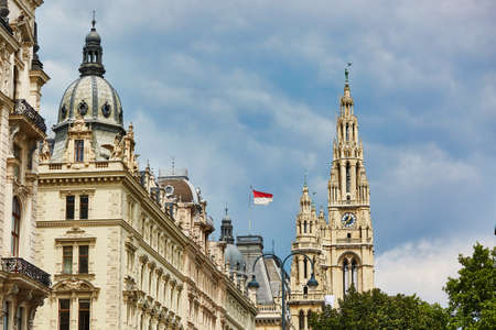 rathaus: Scenic view of Vienna with the City Hall (Rathaus) Stock Photo