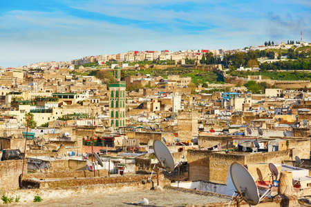 fes: Scenic view to the medina of Fes with mosk, Morocco Stock Photo