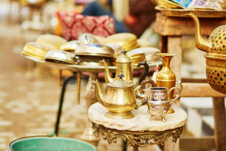 souk: Teapots on Moroccan market (souk) in Fes, Morocco Stock Photo