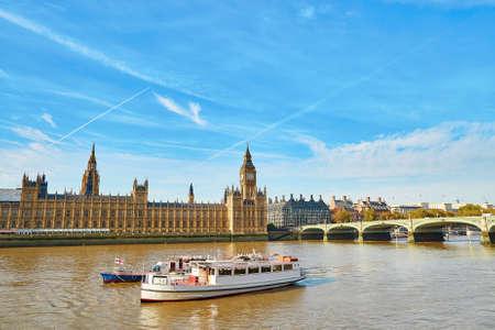 Big Ben with river Thames, London, UK Reklamní fotografie - 45202368