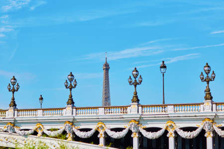 la tour eiffel: Beautiful details of the famous Alexandre III bridge with the Eiffel tower in the background in Paris, France Stock Photo