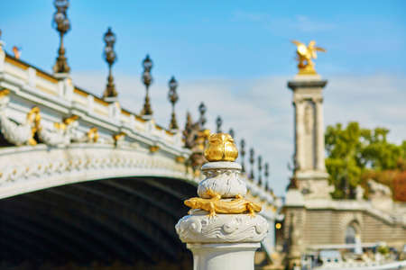 alexandre: Beautiful details of the famous Alexandre III bridge in Paris, France Stock Photo