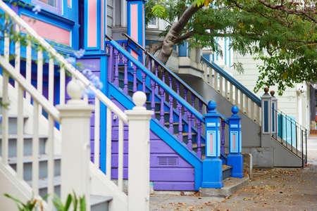 san francisco: Colorful porches of wooden houses on street of San Francisco, California, USA