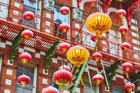 chinatown: Beautiful red Chinese lanterns in Chinatown of San Francisco, California, USA