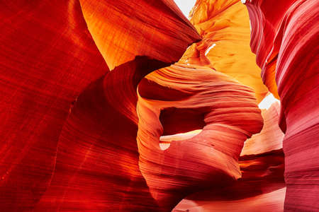 pocahontas: Lower Antelope Canyon in the Navajo Reservation near Page, Arizona USA. Pocahontas head rock formation Stock Photo