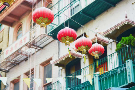 frisco: Beautiful red Chinese lanterns in Chinatown of San Francisco, California, USA