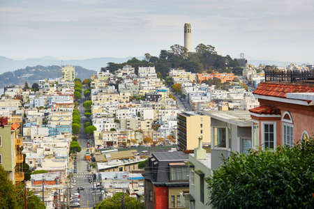 coit tower: Scenic view at Coit tower in San Francisco, California, USA