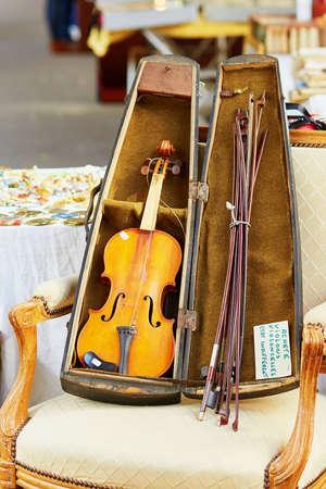 fleamarket: Old violin on a Parisian flea market