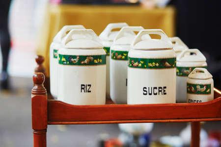 fleamarket: Cans for rice and sugar on a Parisian flea market