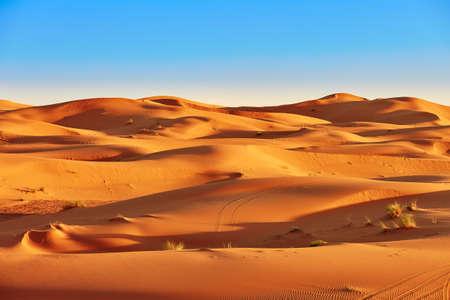 Sand dunes in the Sahara Desert, Merzouga, Morocco 스톡 콘텐츠