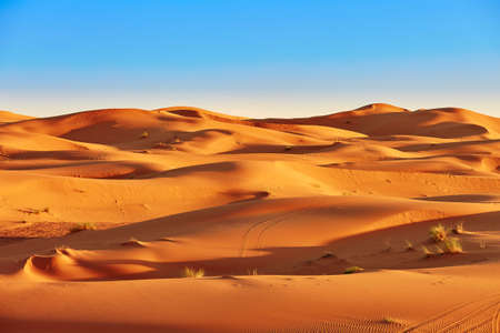 Sand dunes in the Sahara Desert, Merzouga, Morocco Banque d'images