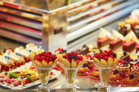 afternoon fancy cake: Delicious fruit desserts in French bakery