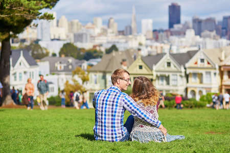 Romantic loving couple having a date in San Francisco, California, USA Stock Photo