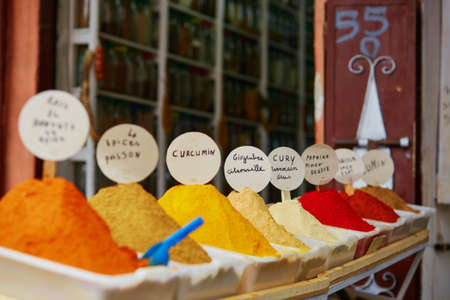 souk: Selection of spices on a traditional Moroccan market (souk) in Marrakech, Morocco Stock Photo