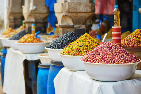 olive: Selection of pickled olives on a traditional Moroccan market (souk) in Essaouira, Morocco