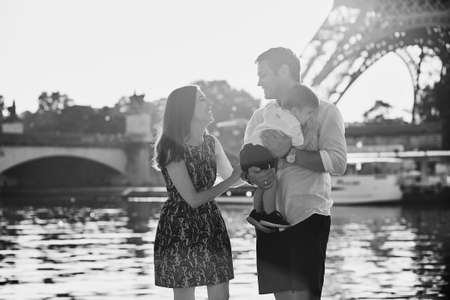 trocadero: Happy family of three enjoying their vacation in Paris, France