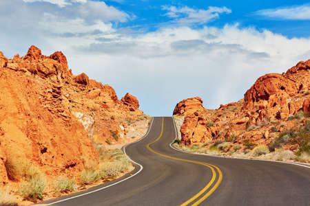 red mountain: Winding road in Valley of the Fire national park in Nevada, USA