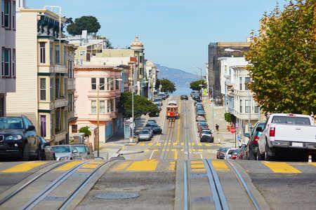 hand rail: Cable car in San Francisco, California, USA