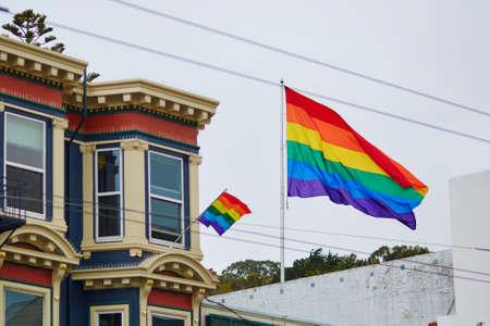 sex symbol: Gay Pride Movement flag on a street of San Francisco, California, USA