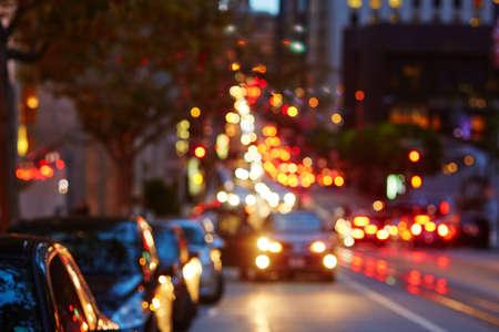 Blurred defocused car lights, heavy traffic in San Francisco, California, USA