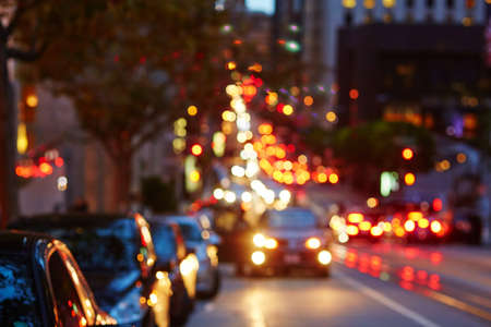 Blurred defocused car lights, heavy traffic in San Francisco, California, USA