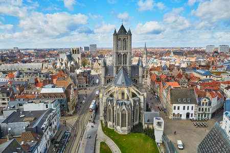 Aerial view on the center of Ghent with Saint Nicholas Church in Belgium, from the Belfry tower Stock Photo