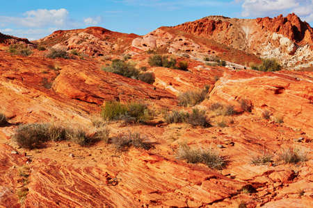 sedimentary: Scenic landscape with striped colorful sedimentary rocks in Valley of the Fire national park in Nevada, USA