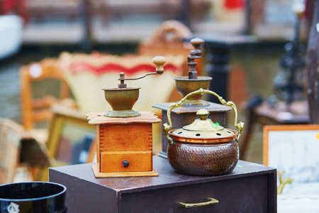 fleamarket: Vintage coffee-mill on flea-market in Brugge, Belgium
