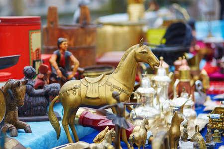 fleamarket: Bronze horse figurine on flea-market in Brugge, Belgium