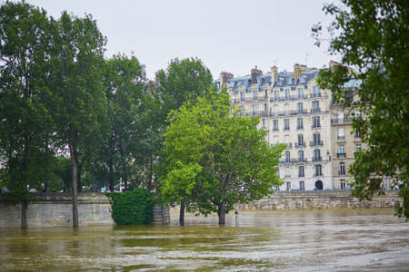 extremely: Flood in Paris, extremely high water on the river Seine Stock Photo