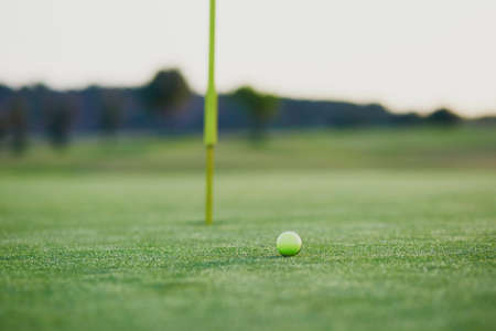 caddie: Golf ball on the green, approaching to the hole