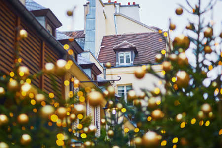 Christmas trees decorated with golden balls on a street of Paris. Seasonal winter holidays concept Stock Photo
