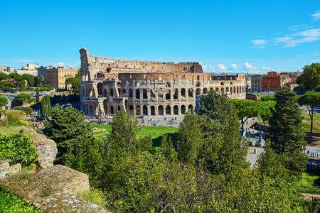 Aerial scenic view of Colosseum in Rome, Lazio, Italy