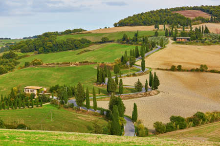 agriturismo: Scenic view of Tuscan winging roads with cypresses. Val dOrcia, Tuscany, Italy