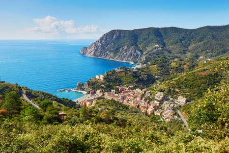 Aerial scenic view of Monterosso, Cinque Terre, Liguria, Italy
