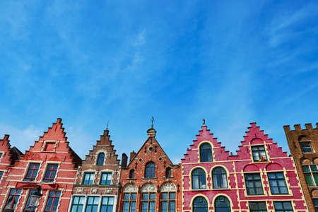 Beautiful medieval buildings on Grote Markt square in Brugge, Belgium