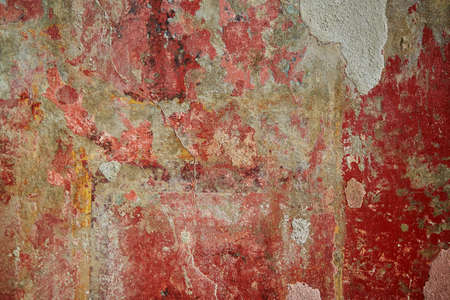 Ancient color wall paintings (frescos) in Pompeii, Roman town near modern Naples destroyed and buried under volcanic ash during eruption of Mount Vesuvius in 79 AD