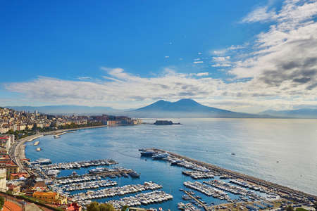 Aerial scenic view of Naples with Vesuvius volcano at sunrise. Campania, Southern Italy Stock Photo