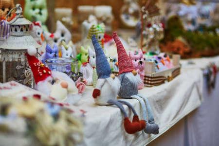 Funny handmade gnomes on market in Italy Stock Photo