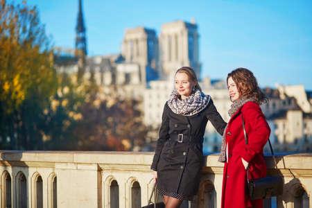日当たりの良いをパリで一緒に歩いて 2 つの若い女の子は落下日でノートルダム大聖堂の近く。観光や友情の概念 写真素材