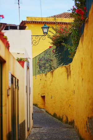 ポルトガル、マデイラ島のフンシャルの狭い通り 写真素材
