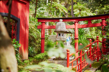 Japanese style red gates at Monte tropican garden. Funchal, Madeira island, Portugal Foto de archivo