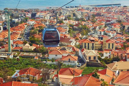 Scenic view of Funchal from cable car to Monte. Madeira Island, Portugal Zdjęcie Seryjne